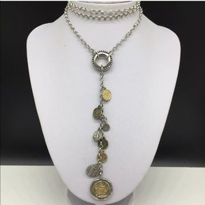Chico's Silver Gold Y Chain Coin Lariat Necklace